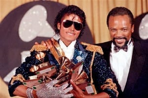 Michael Jackson and Quincy Jones at the Grammys 1984